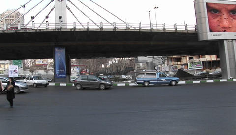 A busy thoroughfare in a city in Iran with a modern,... Stock Video Footage