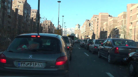A busy city street in Tehran, Iran Stock Video Footage