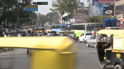 Hectic traffic in a city in India Stock Video Footage