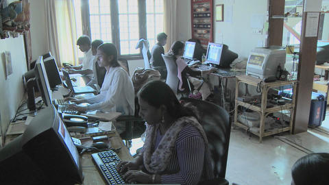A group of people are busy using computers Stock Video Footage