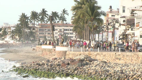 Malecon in Puerto Vallarta, Mexico, timelapse. We see the... Stock Video Footage