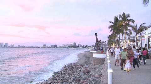 Malecon in Puerto Vallarta, Mexico. We see the sculptures... Stock Video Footage
