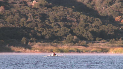 Wide view of two people rowing a double scull on Lake... Stock Video Footage