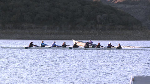 Eight person rowing sweep and double scull on Lake Casitas in Oak View, California Live Action