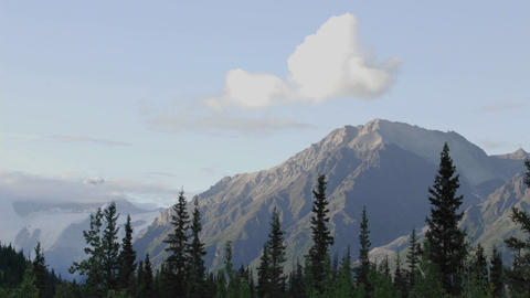 Time lapse of sunset and clouds on the Wrangell Mountains from McCarthy in Wrangell - Saint Elias Na Footage