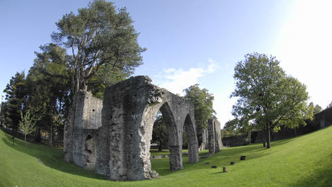 Time lapse of clouds passing over Armagh Friary ruins... Stock Video Footage