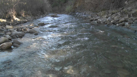 Water flowing in San Antonio Creek in Ojai, California Stock Video Footage