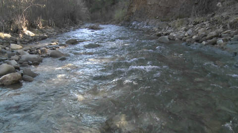 Water flowing in San Antonio Creek in Ojai, California Footage