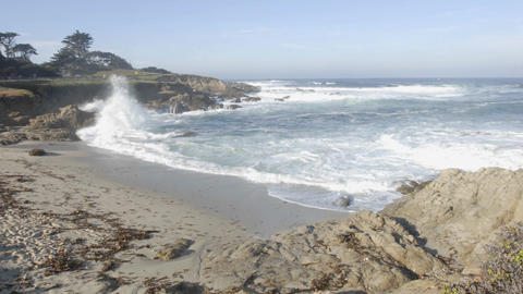 Time lapse of waves breaking at Cypress Point on 17-mile... Stock Video Footage