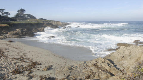 Time lapse of waves breaking at Cypress Point on 17-mile drive in Carmel, California Footage