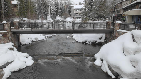 Time lapse of Gore Creek flowing through Vail, Colorado Stock Video Footage