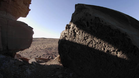 Time lapse of moving shadows on rocks at Homolovi Ruins... Stock Video Footage