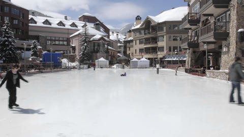 Time lapse of ice skaters in Beaver Creek, Colorado Stock Video Footage