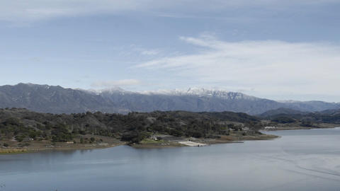 Time lapse of clouds over Lake Casitas and Santa Ynez Mountains in Ojai, California Footage