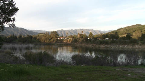 Zoom in on RVs camping at Lake Casitas Recreation Area in... Stock Video Footage