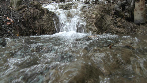 Point of view close up of a small waterfall in Los Padres... Stock Video Footage