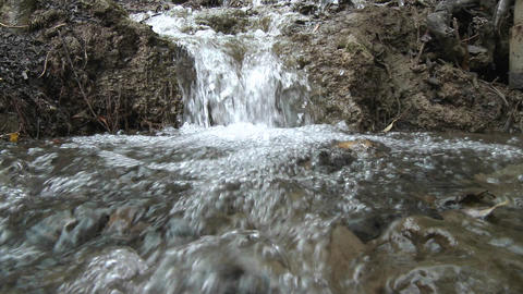 Point of view close up of a small waterfall in Los Padres National Forest above Ojai, California Footage
