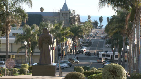 Side view of cars driving in downtown Ventura, California Stock Video Footage
