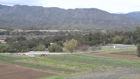 Pan of organic Mano Farms in Ojai, California Footage
