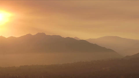 Time lapse of a smokey sunset from wildfires in Ojai, California Footage