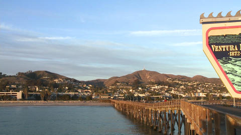 Ventura Pier sign and the city of Ventura, California Footage