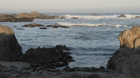 Panning time lapse of waves breaking on Point Pinos in... Stock Video Footage