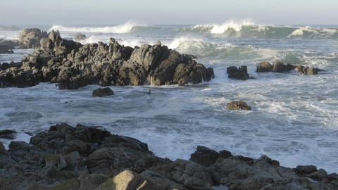 Wide time lapse of waves breaking on the rocks at Point... Stock Video Footage