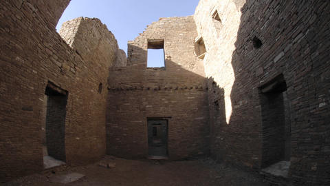 Time lapse of shadows on the walls of Pueblo Bonito in Chaco Culture National Historical Park, New M Footage