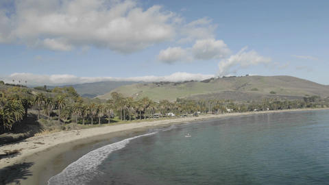 Time lapse of clouds passing over Refugio Beach State... Stock Video Footage
