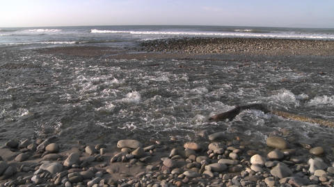 Wide pan of water flowing out of the Ventura River... Stock Video Footage