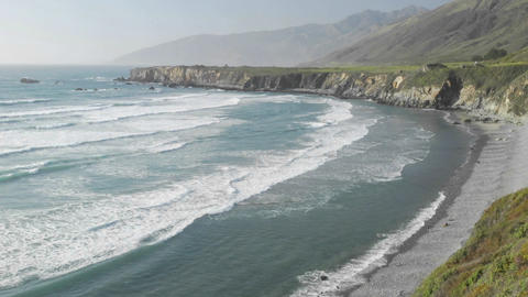 Panning time lapse of waves breaking on Sand Dollar Beach in Big Sur, California Footage