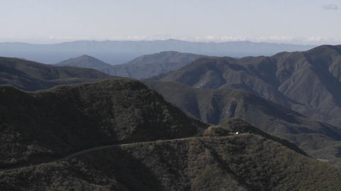 Slow wide zoom of the Santa Ynez Mountains above Ojai, California Footage