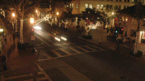 Night time lapse of State Street during the holidays in Santa Barbara, California Footage