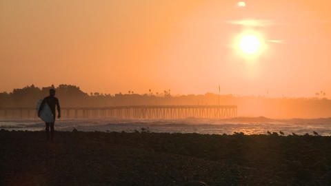 Surfer silhouette getting out of the water during sunrise at Surfers Point in Ventura, California Footage