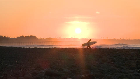 Wide surfer silhouette getting into the water during sunrise at Surfers Point in Ventura, California Footage