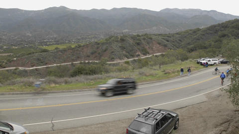 Peloton passing in a time lapse of the 2008 Tour of... Stock Video Footage