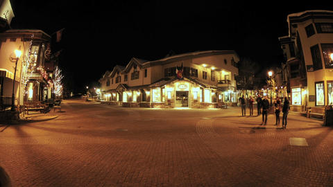 Night time lapse of people walking in downtown Vail,... Stock Video Footage
