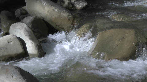 Slow zoom out of a waterfall on North Fork Matilija Creek above Ojai, California Footage