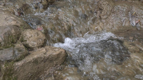 Zoom in of a small waterfall on the North Fork Matilija Creek above Ojai, California Footage