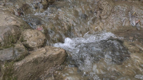 Zoom in of a small waterfall on the North Fork Matilija... Stock Video Footage