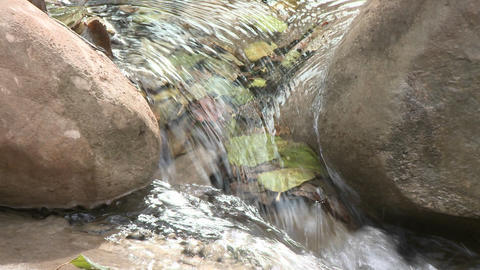 Close up zoom on a waterfall in Wheeler Springs above Ojai, California Footage