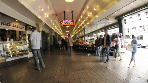Wide time lapse of people walking at Pike Place Market in... Stock Video Footage