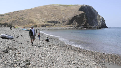 Time lapse of waves washing on shore on Santa Cruz Island... Stock Video Footage