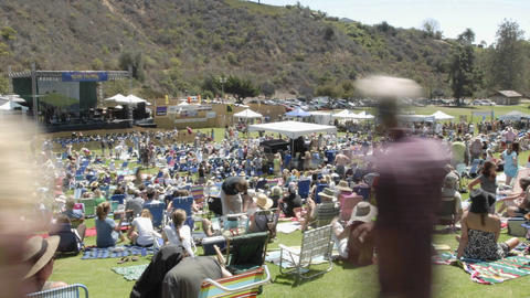 Zoom out time lapse of a crowd at an outdoor concert in... Stock Video Footage