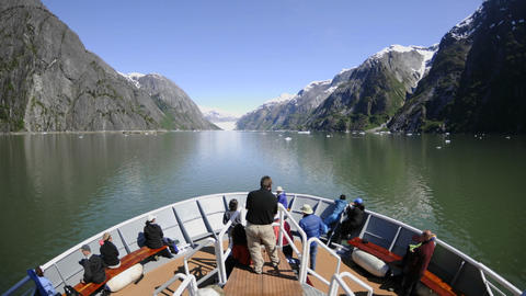 Point of view time lapse of a ship cruising up Endicott Arm towards Dawes Glacier in Tracy Arm - For Footage