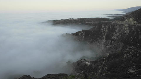 Slow time lapse of coastal fog at sunrise along the Santa... Stock Video Footage