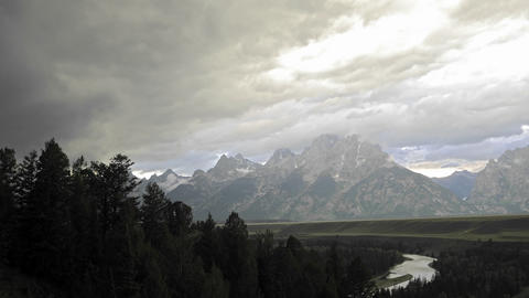 Time lapse motion of thunderstorm forming over the Teton... Stock Video Footage