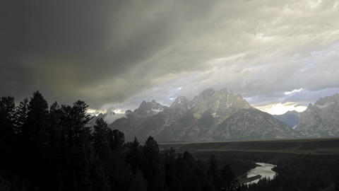 Time lapse motion of thunderstorm forming over the Teton Range in Grand Teton National Park, Wyoming Footage