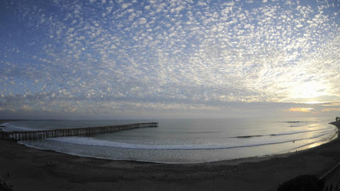 Time lapse of clouds and waves at Ventura Pier in... Stock Video Footage