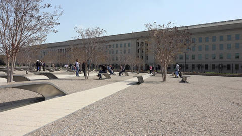 Pentagon Memorial 911 monuments Washington DC pan 4K 009 Footage